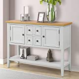 ZSQ Buffet Table, Cambridge Series Sideboard Table with Bottom Shelf, Console Table Dining Room Server, Entry Table Buffet Cabinet Sofa Table (Antique White)