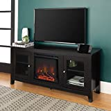 Walker Edison WE Furniture Traditional Wood Fireplace Stand for TV's up to 64' Living Room Storage, 58', Black, 24 Inches Tall, Model:AZ58FP4DWBL
