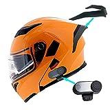 1Storm Motorcycle Modular Full Face Flip up Dual Visor Helmet + Spoiler + Motorcycle Bluetooth Headset: HB89 Glossy Orange