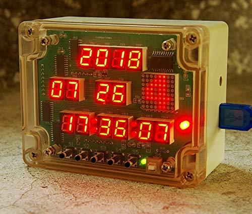 HandsMagic Multi function digital tube 14 LED dot matrix electronic clock diy kit electric learning kit (Toy)