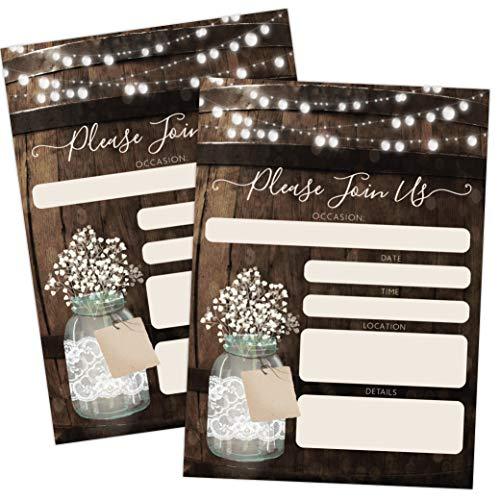 Rustic Country Wood Barrel Invitations, Elegant invites for Wedding Rehearsal Dinner, Bridal Shower, Engagement, Birthday, Bachelorette Party, Baby Shower, Reception, Anniversary, Housewarming