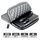 USB 3.0 & USB-C External CD DVD Drive, ROOFULL Portable CD/DVD +/-RW Optical Drive Burner Writer with Protective Storage Carrying Case Bag for MacBook Pro, MacBook Air, Mac OS and Windows (Dark Grey)