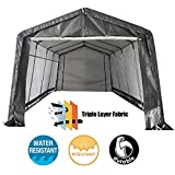 kdgarden 10 x 20 ft. Heavy Duty Domain Carport Portable Enclosed Car Canopy Outdoor Instant Garage Tent with Sidewalls for Auto and Boat Storage, Gray Peak Top Style