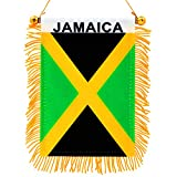 Anley 4' X 6' Jamaica Fringy Window Hanging Flag - Mini Flag Banner & Rearview Mirror Dcor - Fringed, Double Sided, Jamaica Rearview Flag with Suction Cup