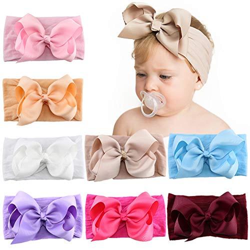 8 pezzi 5 pollici Neonate Fiocchi per capelli Fasce in nylon Nastro in gros-grain Fascia per capelli Accessori per capelli elastici per bambini Neonati Toddlers