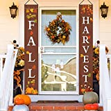2 Pieces Thanksgiving Porch Banners Fall Harvest Hanging Porch Banner Happy Fall Y'all Thanksgiving Harvest Porch Sign for Thanksgiving Autumn Yard Door Decoration