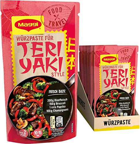 Maggi Food Travel Würzpaste Teriyaki Style (Ohne Konservierungsstoffe, Vegetarisch), 10er Pack (10 x 65g)