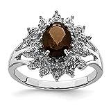925 Sterling Silver Smoky Quartz Diamond Band Ring Size 7.00 Stone Gemstone Fine Jewelry For Women...