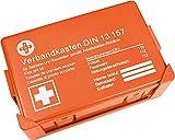 Aquí BeiDir - Caja de primeros auxilios DIN 13157, maletín de primeros auxilios con soporte de pared, caja de vendajes según ASR, incluye número de emergencia