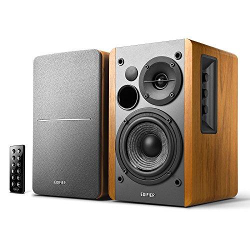 Edifier R1280DB Powered Bluetooth Bookshelf Speakers - Optical Input - Wireless Studio Monitors - 4 Inch Near Field Speaker - 42w RMS - Wood Grain
