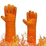 Gants de protection en cuir de vache résistant à la chaleur et aux hautes températures pour le travail de soudage et de barbecue