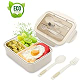 Lunch Box, Porta Pranzo, 1400ml Kids Bento Box con 3 Scomparti e Posate(Forchetta e Cucchiaio), Lavastoviglie/Approvato Dalla FDA/Senza BPA. (Beige)