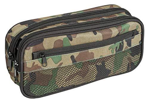 Idena 20056 - Astuccio con 2 scomparti e tasca in rete, colore: mimetico, circa 22 x 11 x 7 cm.