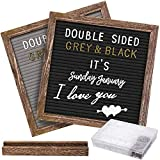 Double Sided Felt Letter Board with Rustic 10x10 Wood Frame,750 Precut Letters,Months & Days & Extra...