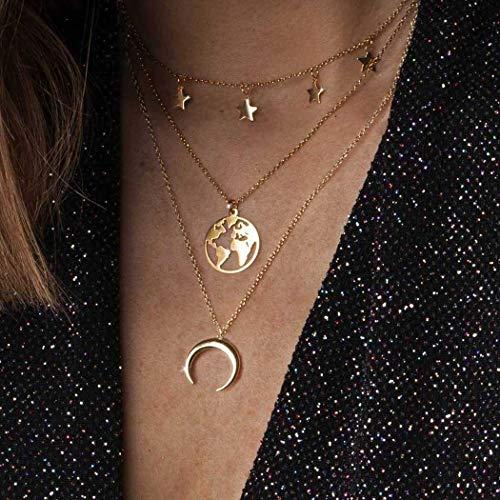 Zoestar Boho Star - Collar con capas de luna dorada, collare