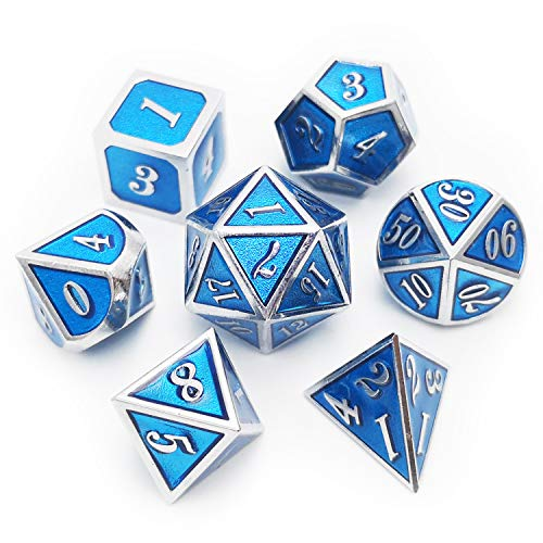 Haxtec Metal Dice Set D&D 7 Die Metal DND Dice for Dungeons and Dragons RPG...