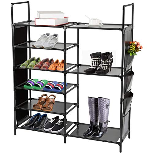 DazHom 6-Tier Shoe Rack, Non-Woven Fabric Shoe Storage Organizer, Stackable Shoe Tower Shoe Rack,...