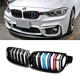 SNA M Color F30 Grill, Front Kidney Grille for 2012-2018 BMW 3 Series F30 F31 (Double Slats ABS Gloss Black Grill, 2-pc Set)