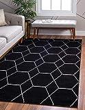 Unique Loom Trellis Frieze Collection Lattice Moroccan Geometric Modern Black Area Rug (2' 0 x 3' 0)