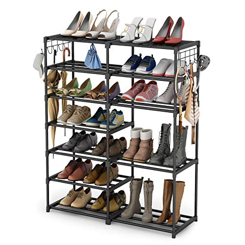 Shoe Rack Shoe Tower Shoe Shelf Shoe Storage Organizer Unit Entryway Shelf Stackable Cabinet 24-30 Pairs 7-Tier...