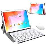 Tablet 10 Pulgadas 4 GB RAM 64GB/128GB ROM Android 9.0 Certificacin Google GMS Ultrar-Rpido Tablets 4G LTE Dual SIM / WiFi 8000mAh Quad Core /GPS,Type-c, OTG, Netfilix/ con Teclado (Rosado)