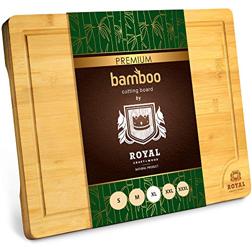 Extra Large Organic Bamboo Cutting Board with Juice Groove - Kitchen Chopping Board for Meat (Butcher Block) Cheese...