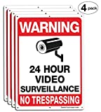 Video Surveillance Sign, No Trespassing Sign, Metal Reflective Warning Sign, 4 Pack, 14x10 Inches .040 Aluminum, Indoor or Outdoor Use for Home Business CCTV Security Camera,UV Protected & Waterproof
