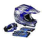 TCMT Dot Youth & Kids Motocross Offroad Street Helmet Blue Skull Motorcycle Youth Helmet Dirt Bike Motocross ATV Helmet+Goggles+Gloves S