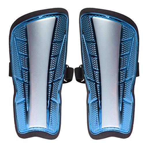 Generic Ultra Light Plate Soft Foam Football Shin Pads Soccer Guards Sports Leg Protector for Kids Adults - blue