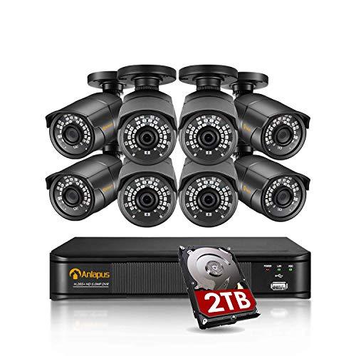 Anlapus 5MP Kit Videosorveglianza 8CH H.265+ Registratore DVR con 8 Fotocamera Esterna 2TB Disco Rigido, 30M Visione Notturna, Accesso Remoto