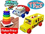 Fisher-Price World's Smallest Chatter Telephone, Rock-A-Stack & Little People School Bus Complete Gift Set Party Bundle - 3 Pack