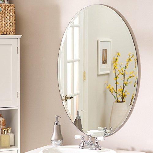 SDG Frameless Oval Mirror (18x24inch, Silver)