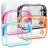 TSA Approved Toiletry Bag - F-color 5 Pack Clear Toiletry Bags - Quart Size Travel Bag, Clear Cosmetic Makeup Bags for Women Men, Carry on Airport Airline Compliant Bag, Black, White, Blue, Orange, Rose Red