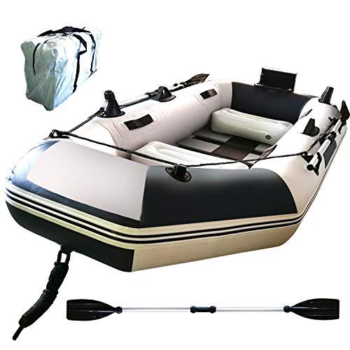Fkstyle Рыболовная лодка Резиновая лодка 3-х местная Все комплект из 2 предметов 230см × 115см × 30см Подвесной мотор с чемоданом Держатель удочки Вес нагрузки 300 кг