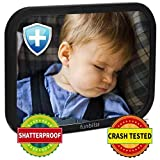 Baby Car Mirror for Back Seat Black - Safely Monitor Infant Child in Rear Facing Car Seat,See Children or Pets in Backseat,Best Newborn Car Seat Accessories, Fully Assembled, Shatterproof
