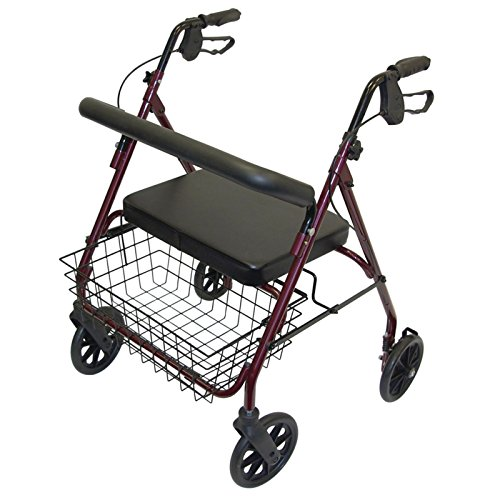 Days Heavy Duty Steel Bariatric Rollator, 700 lb. Weight Capacity, Adjustable Rolling Walker with Seat for Elderly, Disabled, & Limited Mobility Patients, Walking Stabilizer with Four Wheels
