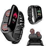Wireless Bluetooth Earbuds Smartwatch Bracelet 2 in 1 Fitness Tracker Band Smart Bracelet (Black)