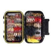 Croch 120pcs Dry Flies Wet Flies Flies Box Set Mix Designs Fishing Lure Bass Salmon Trouts Flies Floating/Sinking Assortment with Waterproof Fly Box