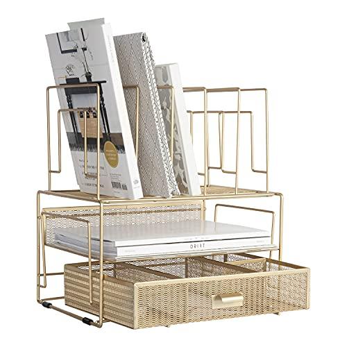 Blu Monaco Workspace Gold Desk Organizers, Storage and Accessories...