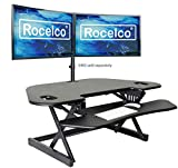 Rocelco 46' Height Adjustable Corner Standing Desk Converter, Quick Sit Standup Dual Monitor Riser, Gas Spring Assist Tabletop Computer Workstation, Large Keyboard Tray, (R CADRB-46), Black