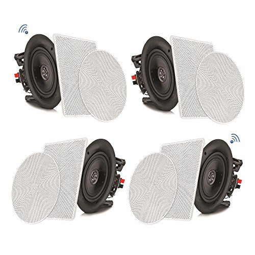 Pyle 8 4 Bluetooth Flush Mount In-wall In-ceiling 2-Way Speaker System Quick Connections Changeable Round/Square Grill Polypropylene Cone & Tweeter Stereo Sound 4 Ch Amplifier 250 Watt (PDICBT286)