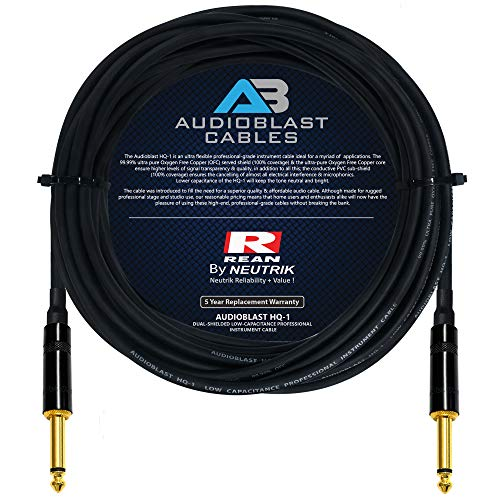 Audioblast - 35 Foot - HQ-1 - Ultra Flexible - Dual Shielded (100%) - Guitar Instrument Effects Pedal Patch Cable w/Neutrik-Rean NYS224BG Gold ¼ inch (6.35mm) TS Plugs & Triple Staggered Boots