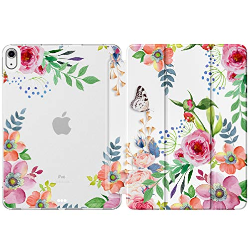 MoKo Case Fit New iPad 10.9 inch,iPad Air 4th Generation Case 2020,Smart Trifold Stand Slim Folio Case with Soft TPU Frosted Translucent Back Cover Fit iPad Air 4 2020,Auto Wake/Sleep,Fragrant Flowers