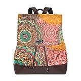Yuanmeiju Mochila de Cuero Rucksack Colorful Flower Tribal Floral Daypack Bags for Girls Boys