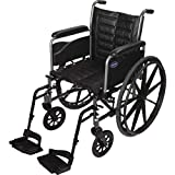 Invacare Tracer EX2 Wheelchair, with Desk Length Arms and T93HCP Hemi Footrests with Heel Loops, 18' Seat Width