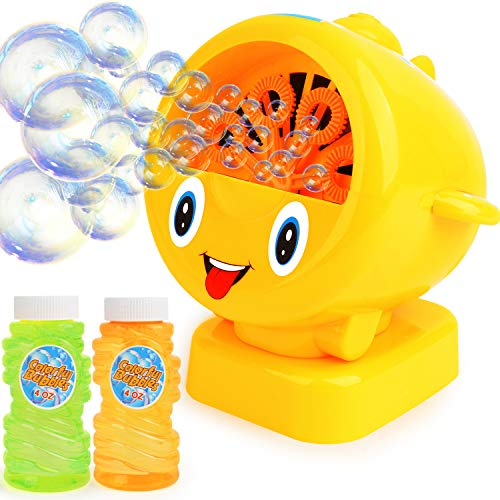 Bubble Machine for Kids , Automatic Bubble Blower for Kids - Great Gift for Babies ,Toddlers and Kids Includes 2 X4 Oz Bubble Solution Up to 500 Bubbles Per Minute Indoor and Outdoors Kids Toy