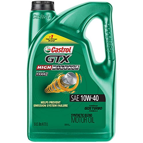 Castrol 03111C GTX High Mileage 10W-40 Synthetic Blend Motor Oil,...