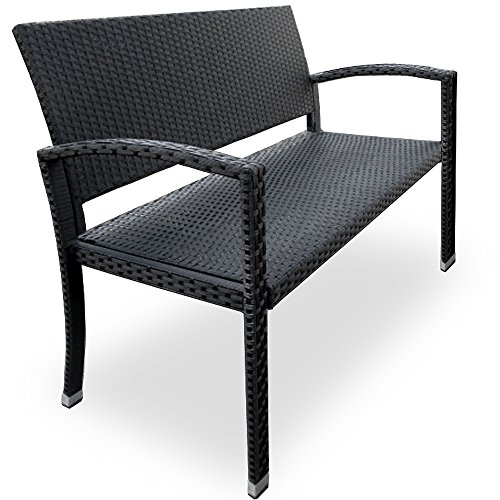 Deuba® Gartenbank Poly Rattan 2-Sitzer UV-Lichtbeständig Sitzkomfort Parkbank Bank Sitzbank