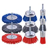 Rocaris 9 Pack Nylon Filament Abrasive Wire Brush Wheel & Cup Brush Set with 1/4 Inch Hex Shank, for Removal of Rust/Corrosion/Paint - 80 Grit, 120 Grit, 240 Grit