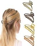 Paquet de 4 clips de griffe de cheveux en métal anti-dérapant attrape-cheveux...
